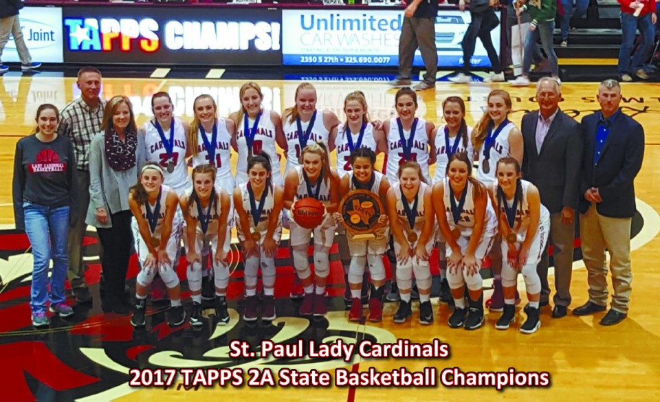 St. Paul Lady Cardinals - 2016 TAPPS 2A Basketball State Champions